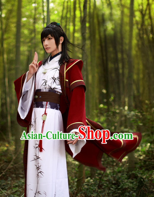 Asia Fashion Top Chinese Bamboo Hanfu Dress Complete Set for Men