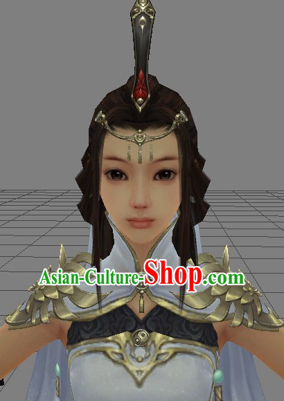 Chinese Wu Xia Drama Swordswoman Cosplay Long Black Wigs for Women