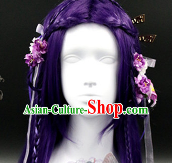 Chinese Ancient Princess Long Purple WIgs and Hair Accessories Set