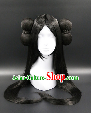Chinese Ancient Princess Style Black Long Wigs