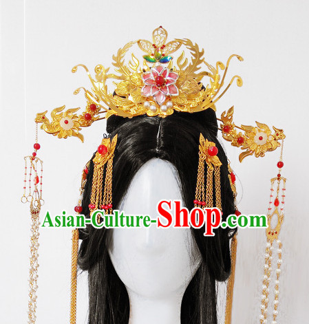 Chinese Ancient Royal Queen Empress Handmade Phoenix Hair Accessories Headwear Complete Set