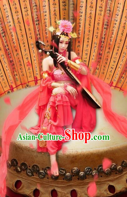 Chinese Ancient Female Dancer Costumes and Hair Jewelry Complete Set