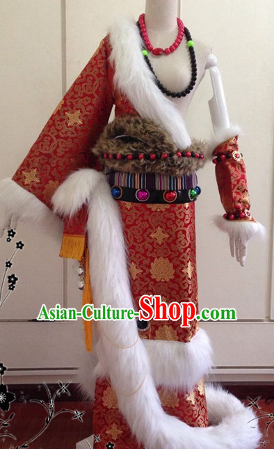 Chinese Classical Tibetan Wedding Garment Complete Set for Brides