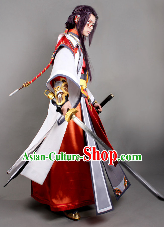 Asia Fashion Chinese Male Warrior Cosplay Costumes and Hair Accessies Complete Set