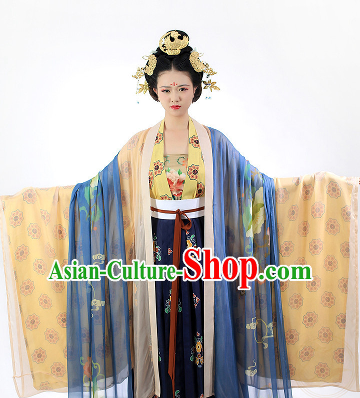 Chinese Ancient Tang Dynasty Oriental Clothing and Hair Jewelry Complete Set