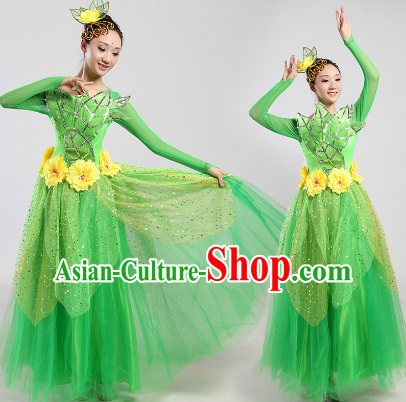 Chinese Green Leaf Dance Costumes and Headwear Complete Set for Women