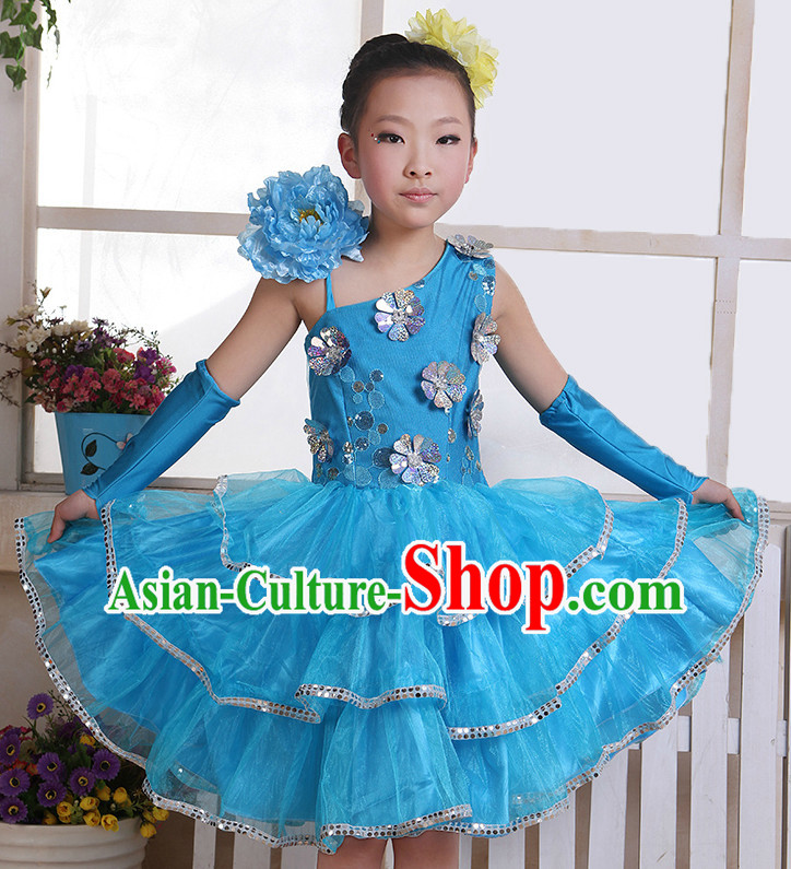Chinese Flower Dance Costumes and Headwear Complete Set for Kids
