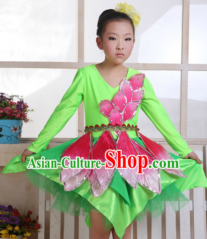 Chinese Flower Dance Costume and Headwear Complete Set for Kids
