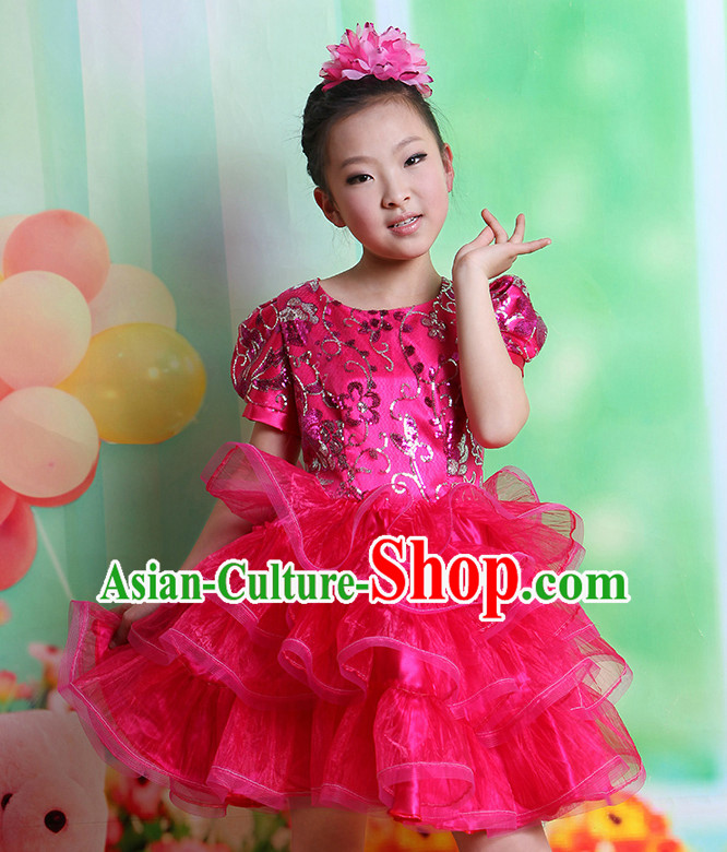 Chinese Fan Dance Costume and Headwear Complete Set for Kids