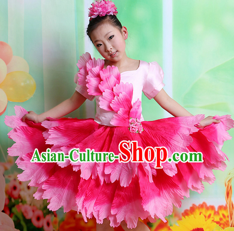 Chinese Flower Dancing Costumes and Hair Accessories Complete Set for Kids