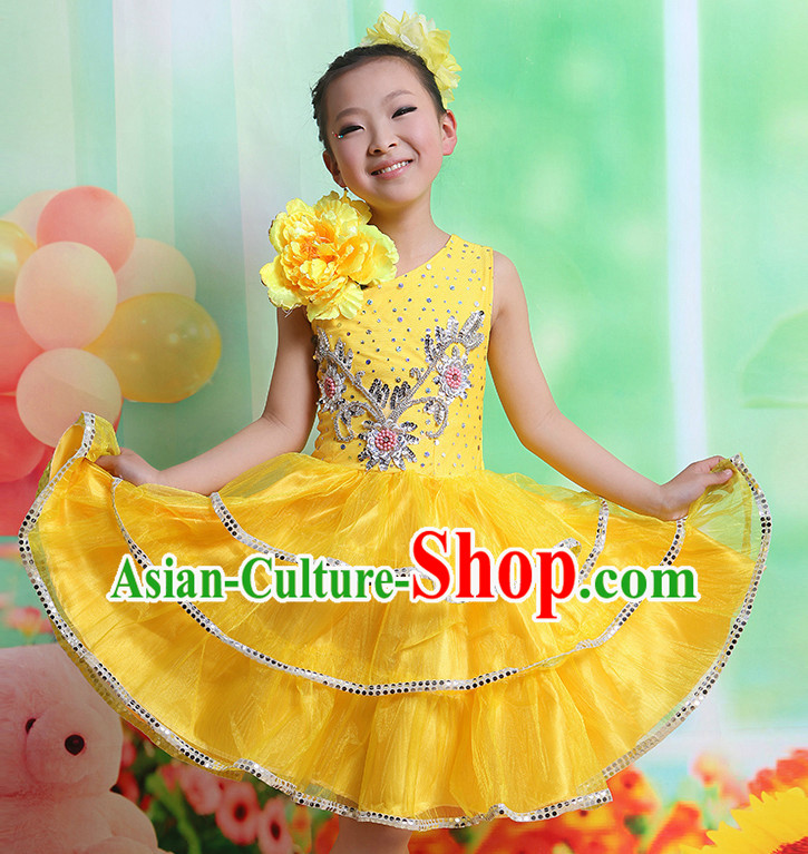 Chinese Flower Dancing Costumes and Hair Accessory Complete Set for Kids