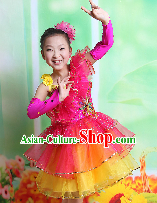 Chinese Fan Dancing Costumes and Hair Accessory Complete Set for Kids