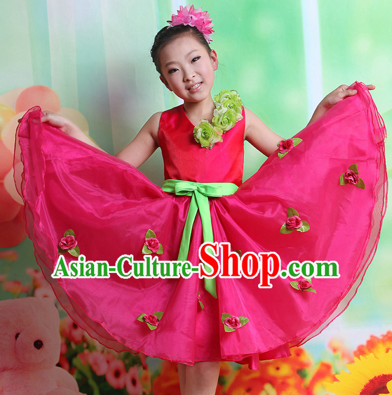 Chinese Folk Ribbon Dancing Costumes and Hair Accessory Complete Set for Kids