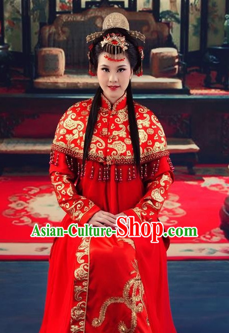 Chinese Traditional Wedding Ceremonial Dresses and Hair Accessories Complete Set for Women