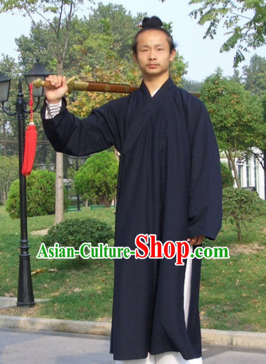 Chinese Dark Blue Taoist Clothing Complete Set for Men
