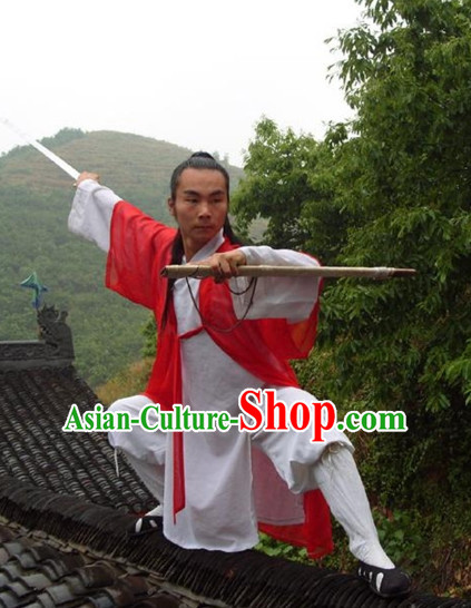 Chinese Taoist Uniform and Hat Complete Set for Men