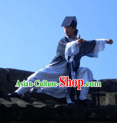 Chinese Deep Blue Yin Yang Wudang Mountain Taoist Costumes Complete Set for Men