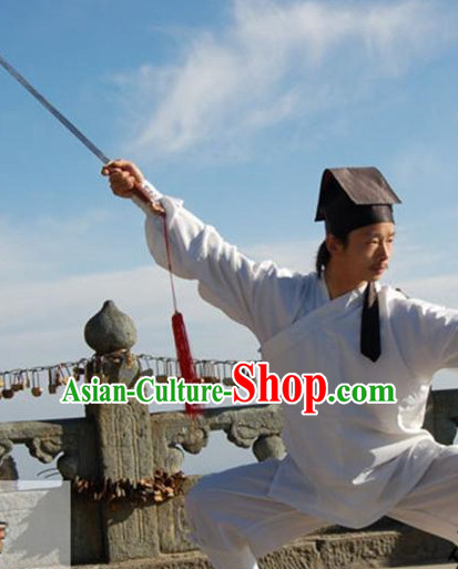China White Wudang Mountain Taoist Costumes Complete Set for Men