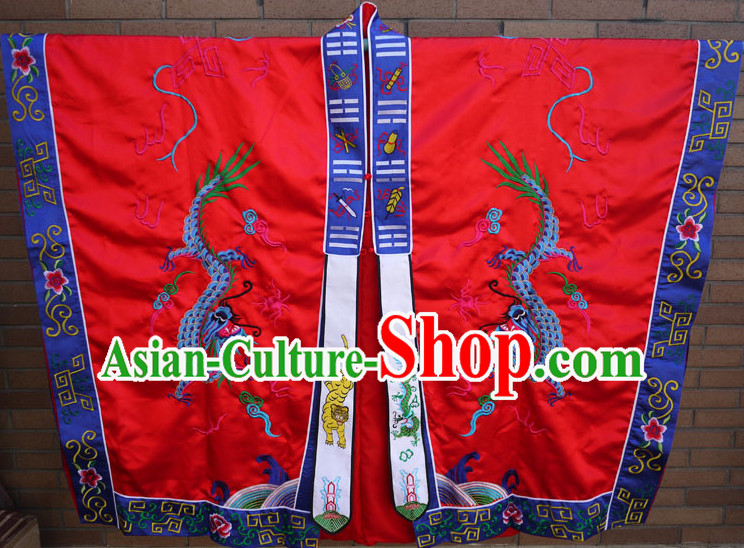 China Red Wudang Mountain Taoist Robe Complete Set for Men
