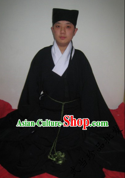 Black China Traditional Taoist Clothes Complete Set for Men