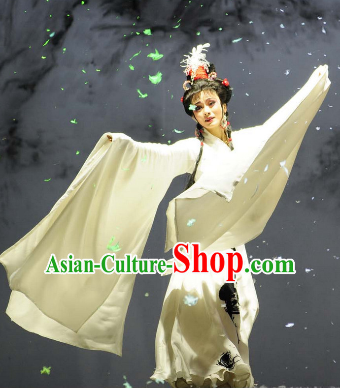 Asian Chinese Traditional Dress Theatrical Costumes Ancient Chinese Clothing Opera Wide Sleeves Pure White Costumes