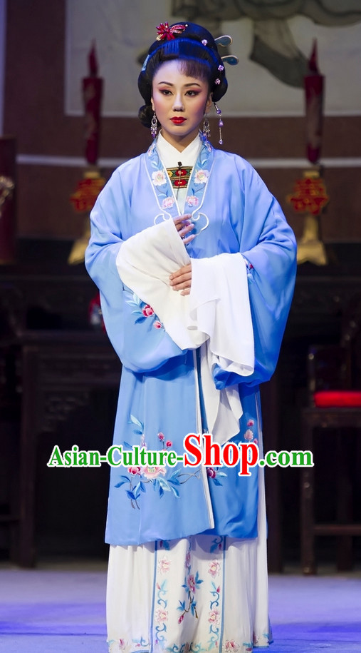 Chinese Traditional Dresses Theatrical Costumes Ancient Chinese Hanfu Lady Clothing and Hair Accessories