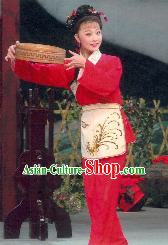 Chinese Traditional Dresses Theatrical Costumes Ancient Chinese Hanfu Lady Tea Plucking Costumes and Hair Accessories