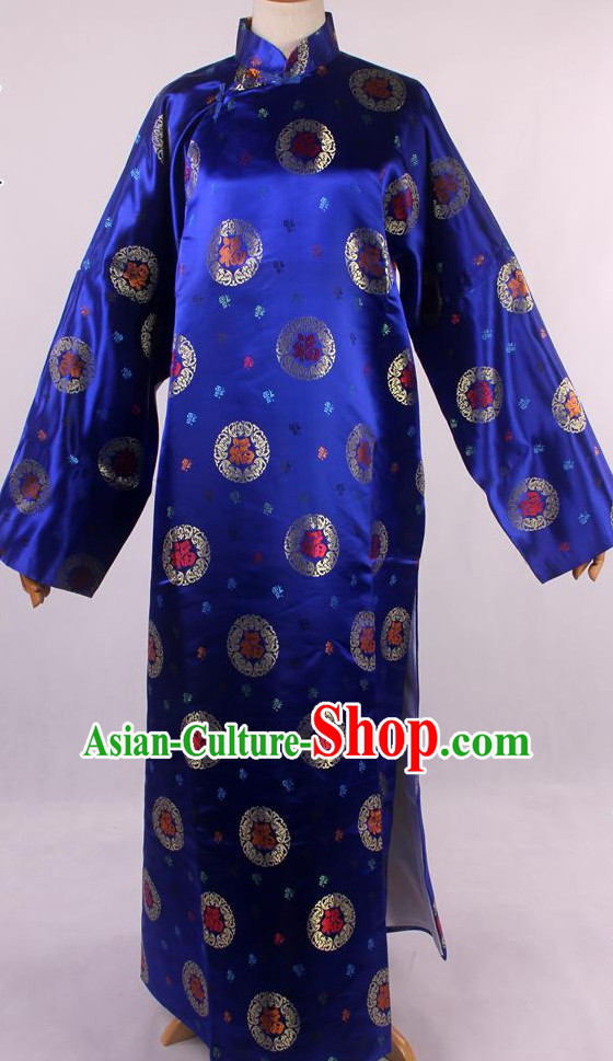 Chinese Traditional Landlord Long Mandarin Robe for Men