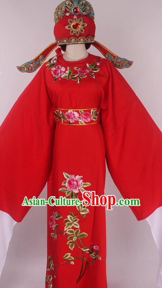 Chinese Traditional Oriental Clothing Theatrical Costumes Opera Young Scholar Young Men Costume and Hat Full Set for Men