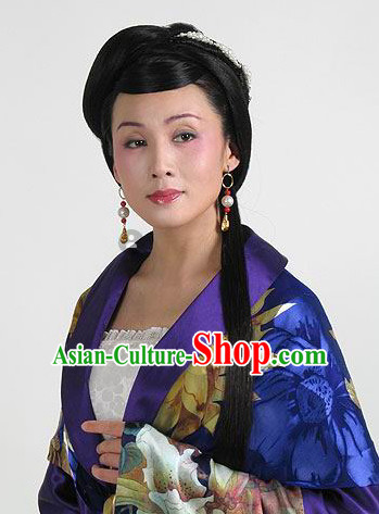 Traditional Chinese Theatrical Black Long Wigs