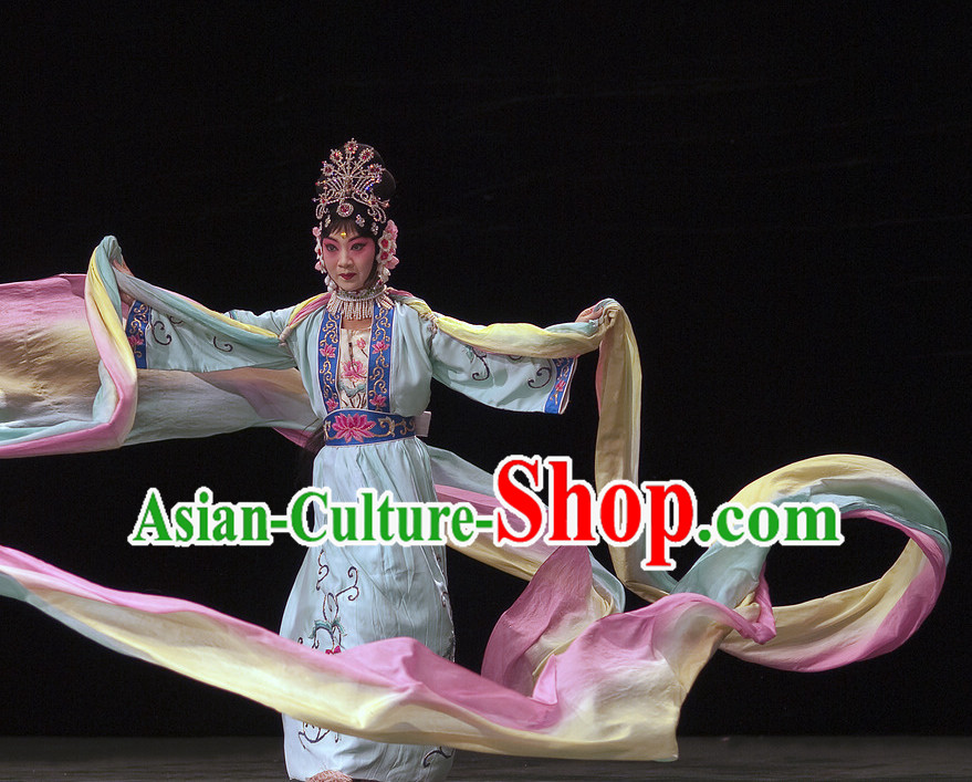 Chinese Traditional Dresses Theatrical Costumes Ancient Chinese Hanfu Ribbon Dancing Costumes and Hair Accessories