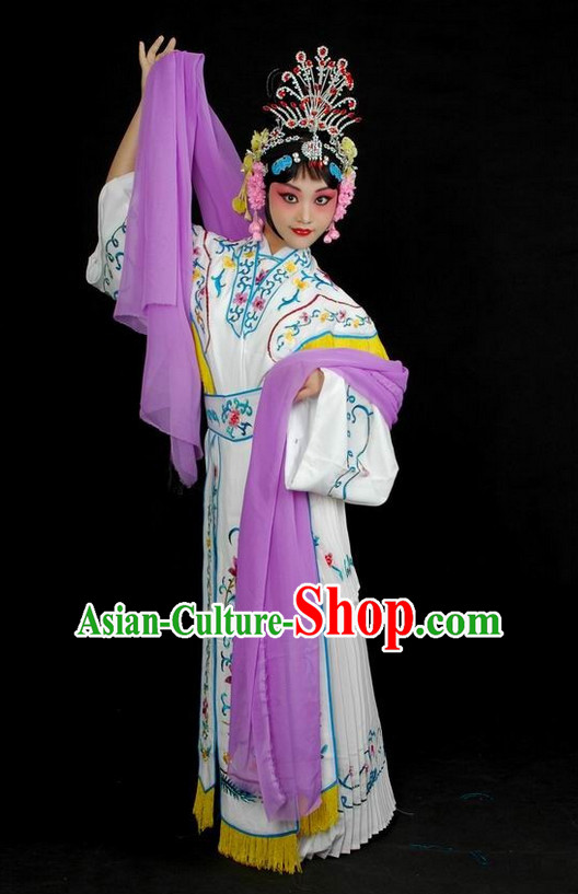 Chinese Traditional Dresses Theatrical Costumes Ancient Chinese Hanfu Fairy Costumes and Hair Accessories Complete Set