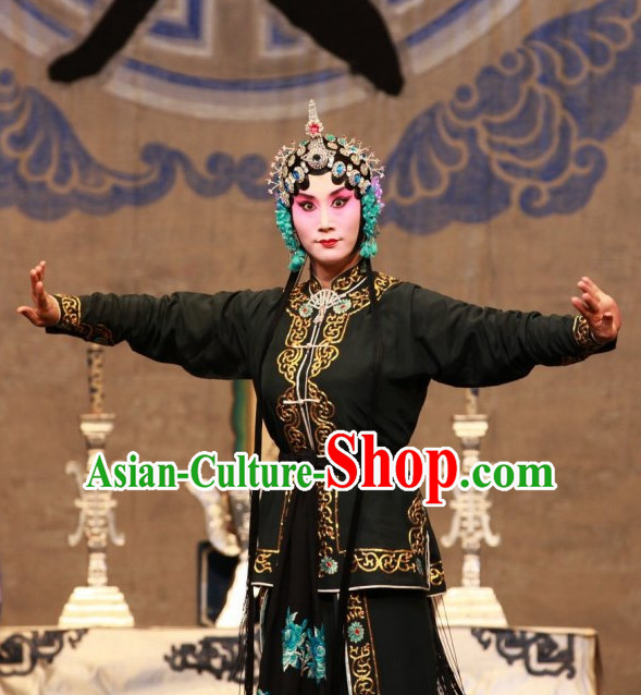 Ancient Chinese Beijing Opera Black Hua Tan Costumes and Hair Accessories Complete Set