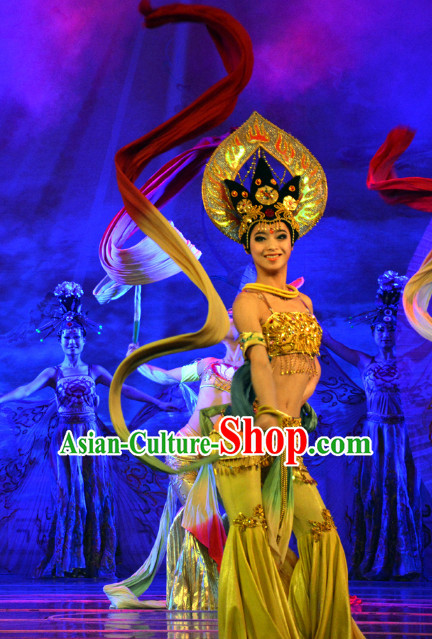 Asian Fashion Fei Tian Flying Angel Dance Costumes and Headpieces Complete Set