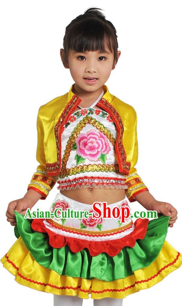 China Traditional Little Girls Ethnic Miao Dancewear