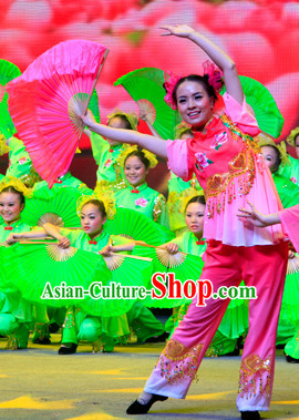China Traditional Fan Dance Costumes and Headwear Complete Set for Women