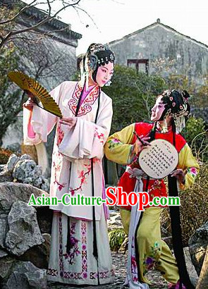 Chinese Opera Noblewoman and Her Servant Costumes and Hair Accessories 2 Complete Sets