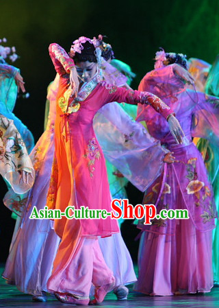 Chinese Classical Dancewear and Hair Accessories Complete Set