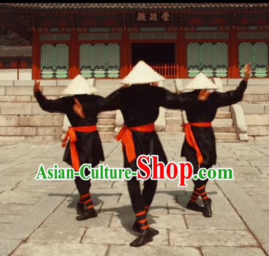 Awesome Dance Group Dancing Strawhats Costume and Strawhat Complete Set for Men