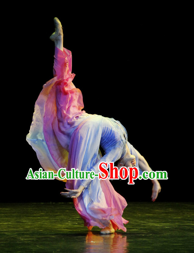 Classical Chinese Dance Costumes and Hair Accessories Complete Set for Women