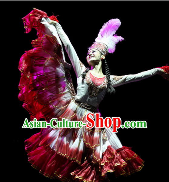 Chinese Folk Xinjiang Dance Costumes Complete Set for Women