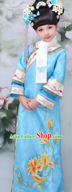 Traditional Chinese Qing Dynasty Princess Costumes Complete Set for Kids