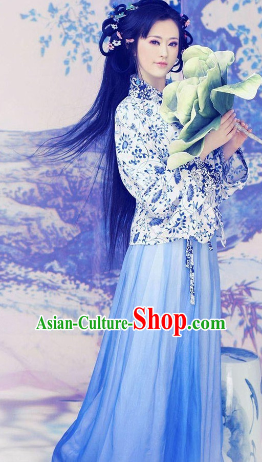 Traditional Chinese Ancient Blue White Costumes Complete Set for Women