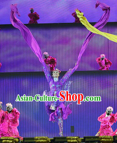 Purple Water Sleeve Ancient Chinese Fairies in the Sky Costumes and Hair Accessories Complete Set