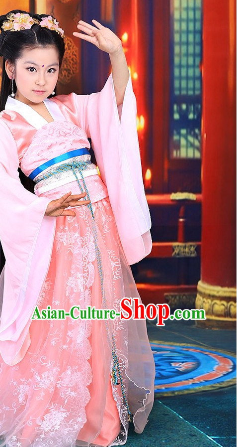 Traditional Chinese Princess Classical Costumes Complete Set for Kids