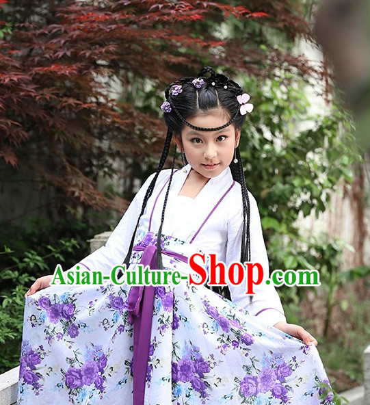 Traditional Chinese Lady Hanfu Costumes Complete Set for Kids