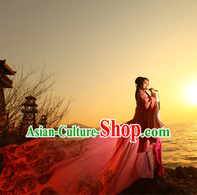 Chinese Traditional Queen Han Fu Clothes Oriental Costumes and Hair Accessories Complete Set for Ladies with Long Trail