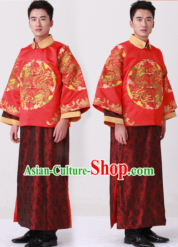 Dragon Embroidery Chinese Fashion Bridal Dress Complete Set for Bridegrooms