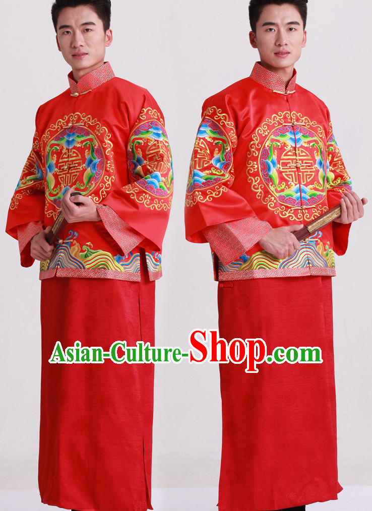 Dragon Embroidered Chinese Fashion Bridal Dresses Outfits Complete Set for Bridegrooms