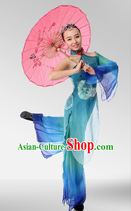 Asian Fashion Traditional Chinese Umbrella Dance Costumes and Hair Accessories for Girls